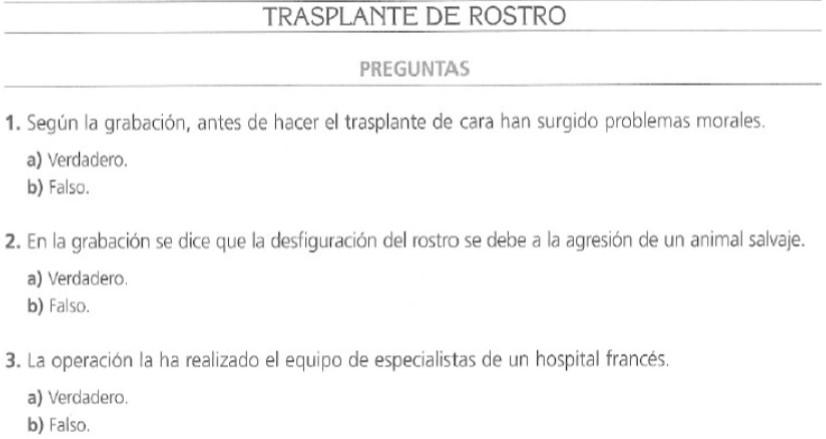 Audio B2. Transplante de cara
