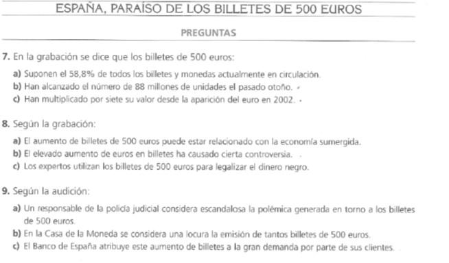 Audio B2. Billetes 500 euros